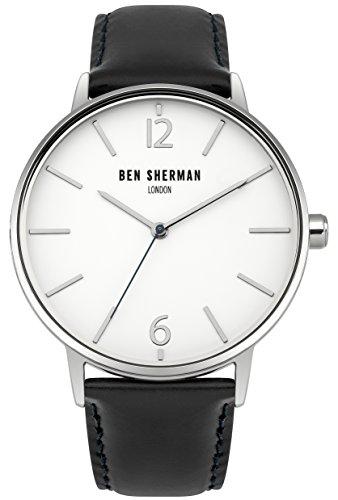 BEN SHERMAN Herren-Quarzuhr mit weißem Zifferblatt, Analoganzeige und zweifarbigem Lederarmband, WB059BU