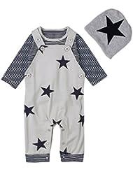 YOUJIA Lindo Unisexo Niños y niñas 3pcs Conjuntos Manga larga Camisas a rayas + Impreso Pantalones de peto y Sombrero del bebé