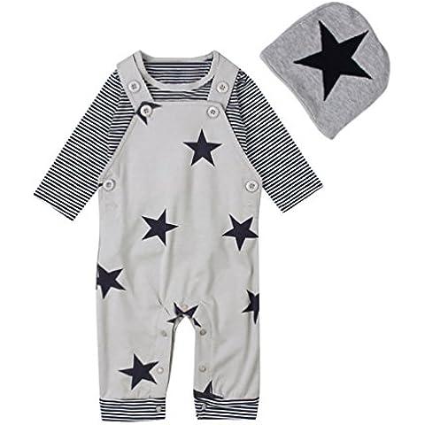 YOUJIA 3pcs Bambino Vestiti Vestito Casual Striscia Manica Lunga Magliette T-Shirt Tops+ Stella Stampa Pantaloni Salopette e Cappello