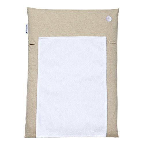 Wickelauflage 50x70 | Beige Wickelunterlage 50x70 | Wickelauflagenbezug inkl. abnehmbares Frottee Handtuch | Alternative zu Wickelauflage abwaschbar