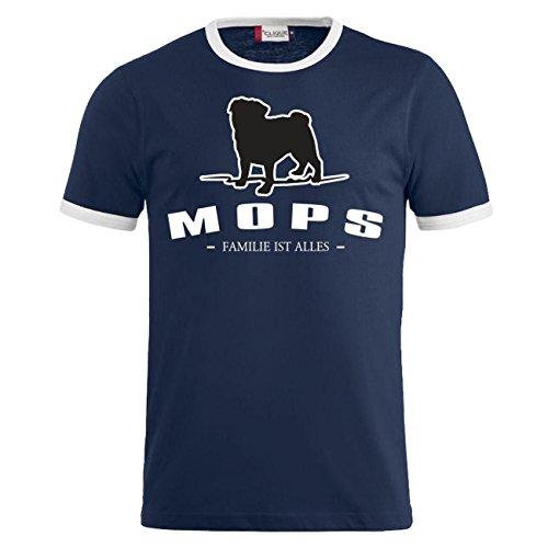 Männer und Herren T-Shirt Mops - Familie ist alles Größe S - 8XL Dunkelblau/Weiß