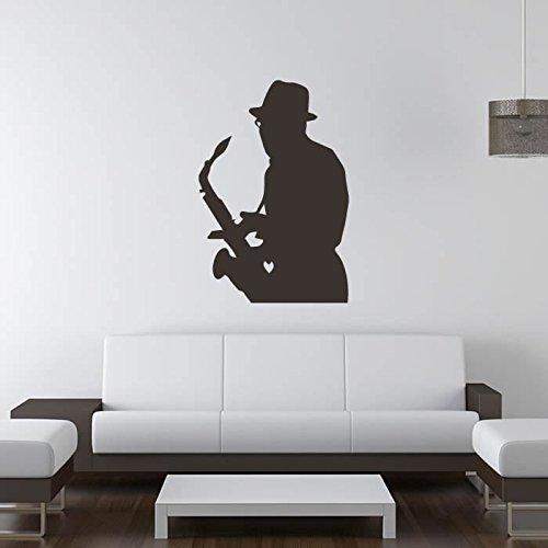 Saxophonspieler-Jazz-Blues-Musiker-Band-Logos-Wandaufkleber-Musik-Kunstabziehbilder-verfgbar-in-5-Gren-und-25-Farben-X-Gro-Wei