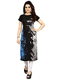 Woman's Straight Cut Digital Printed Crepe Kurti_34