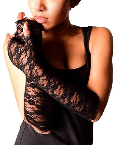 Arunta® Damen Stulpen Armstulpen aus Spitze in Schwarz - Weiße, Handschuhe Und Fingerlose Schwarze