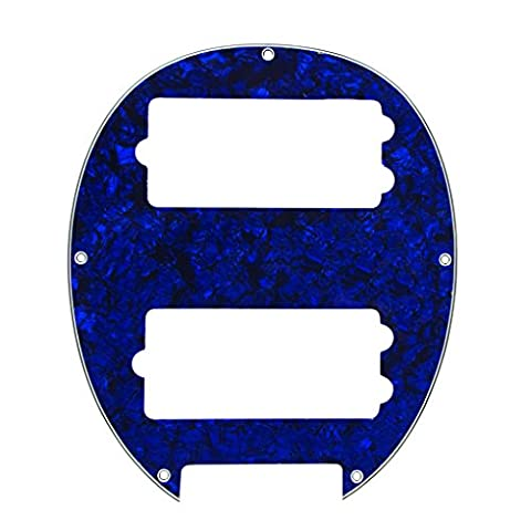IKN 1 Piece 3 Ply Blue Pearl Plaque de protection pour 5 String Electric Bass 2 humbucker place