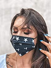 Face Mask, Skin-friendly 100% Cotton Unisex Mouth Mask, Reusable & Washable Masks for Running, Outdoor Activities; EU manufactured (BLACK WITH WHITE STARS)
