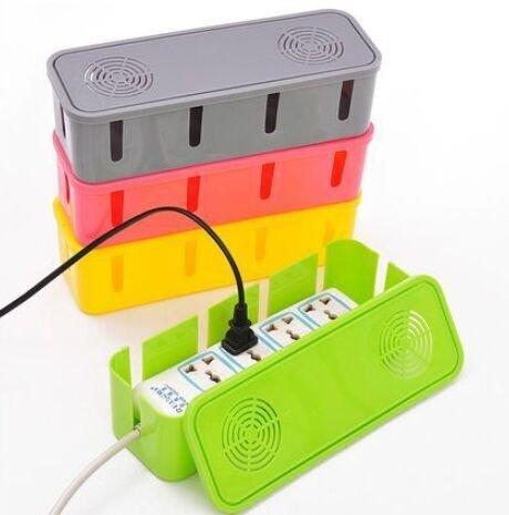 kaifang Kabel Organizer Tool Aufbewahrungskiste Karton mit 10Ausgänge für Überspannungsschutz/AC Adapter Kabel/Ladegerät Line/USB Hub Kabel Management grau (Hub-fall)