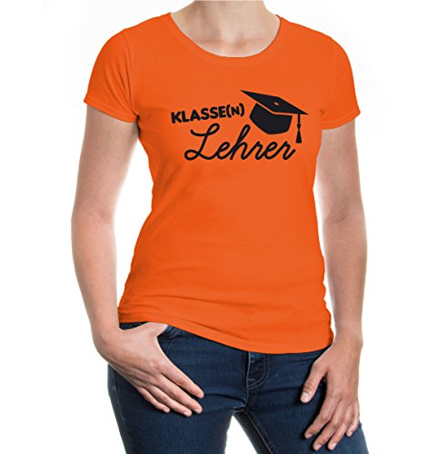 buXsbaum® Girlie T-Shirt Klassenlehrer Orange-Black