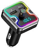 Cocoda Transmetteur FM Bluetooth, [Lampe d'Anneau de 7 Couleurs] Kit Main Libre...