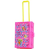 4h6yerf Play House Pink Plastic 3D Travel Train Suitcase Luggage For Doll Toy For Children