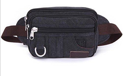MJ Große Kapazität outdoor camping Reiten Multifunktions Taschen einzelne Schulter Retro-Taschen Black