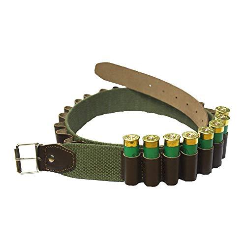 Bisley Canvas 25 Shotgun Cartridge Belt - leather loops 12 Gauge - 32 to 39 inch -