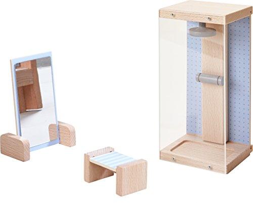 HABA 303837 - Little Friends – Puppenhaus-Möbel Dusche | Mit Dusche, Hocker und Spiegel | Passend für alle Little Friends-Puppenhäuser