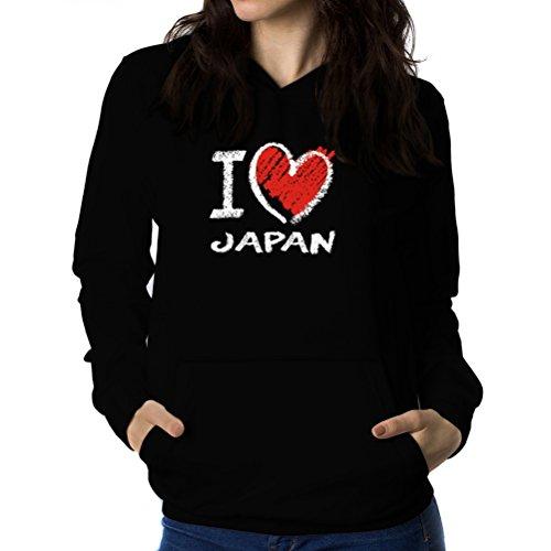Felpe con cappuccio da donna I love Japan chalk style