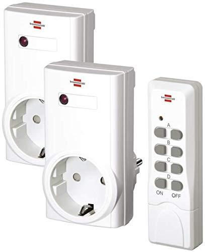Brennenstuhl Funkschalt-Set RCS 1000 N Comfort (2er Funksteckdosen Set, Funksteckdose raspberry pi mit Handsender und Kindersicherung) weiß