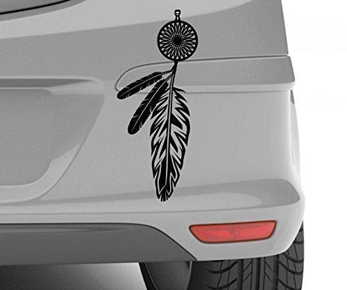 Autoaufkleber Indianer Amerika Feder Schmuck Aufkleber Auto Sticker 5A012, Farbe:Schwarz Matt;Hohe:40cm (Aufkleber Auto Für Feder)