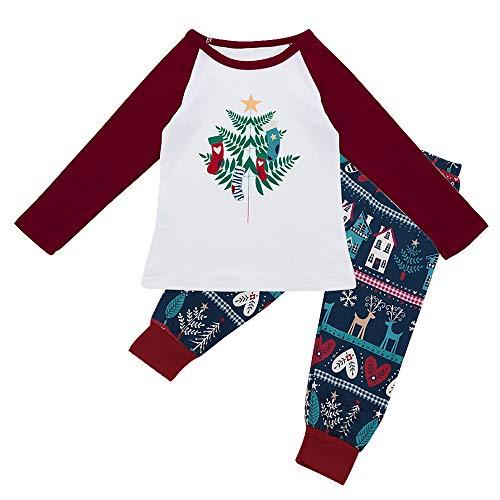 Weihnachten Schlafanzug Familien-Eltern-Kind-Anzug Gedruckt Nachtwäsche Zweiteiliger Schlafanzug für Vater, Mutter, Kinder, Männer, Papa,Tops Bluse+ Hosen Pyjamas Weihnachten Set