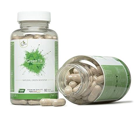 Green Fit - Natürliche Pflanzliche Leistungssteigerung & Energie - Gegen Müdigkeit - Grüner Tee + Guarana + Weißer Tee + Vitamin C &
