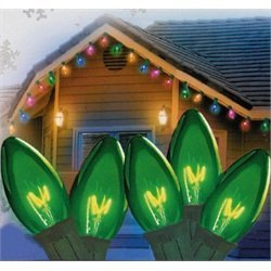 Set of 25 Transparent Green C7 Christmas Lights 12