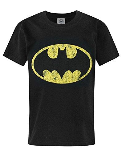Classic Batman Logo T-shirt (Official Batman Distressed Logo Boy's T-Shirt (9-11 Years))