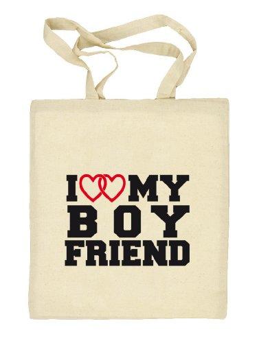 Shirtstreet24, I LOVE MY BOYFRIEND 4,Valentinstag Valentine's Day Stoffbeutel Jute Tasche (ONE SIZE) Natur