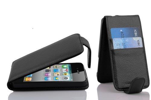 Cadorabo Hülle für Apple iPhone 4 / iPhone 4S - Hülle in Jet SCHWARZ - Handyhülle mit Kartenfach im Flip Design - Case Cover Schutzhülle Etui Tasche (Iphone Jets 4)