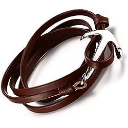 Vnox Pulsera de acero inoxidable marinero ancla para hombres mujeres con cuero marrón cadena de cuero real