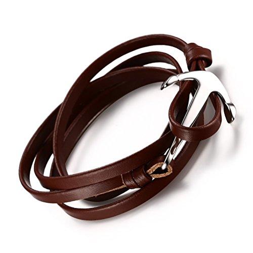 Edelstahl Sailor Anker Armband für Männer Frauen mit Braun Wrap Echt Leder Kette