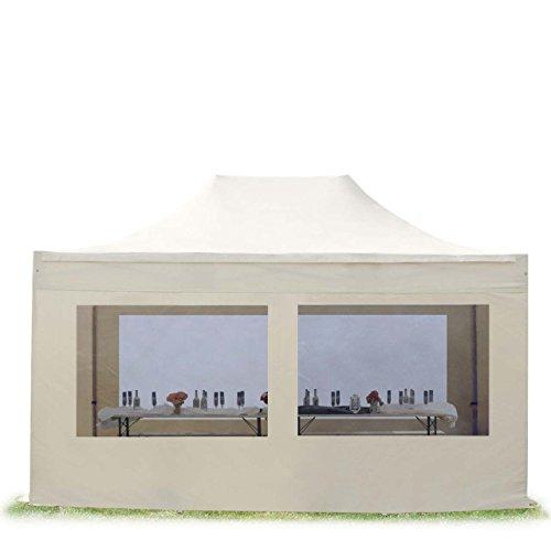 TOOLPORT Faltzelt Partyzelt 3x4,5m - mit Panoramafenstern Professional Dach 100{7b9325d12d515061e88628e19484275a8bcda43e60ec021be200fcf205e1ba83} WASSERDICHT Faltpavillon Pavillon Creme
