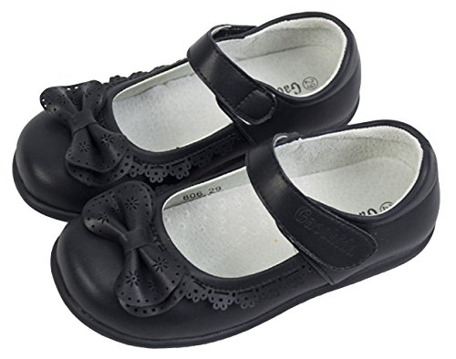 PPXID Girls Black Mary Jane School Uniform Shoes Ballet Flats(Little Kid/Big Kid) 3 UK Size