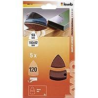 KWB, 4961-12, Bastone rapida rettifica triangoli, legno e metallo, autoadesiva, 100 x 62, 93 millimetri, per Delta Sanders Bosch PSM 160 A, Prio, Ventaro, Skil Octo 7208