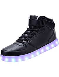 [Present:kleines Handtuch]Weiß 41 Blinkende JUNGLEST Sneakers Farbwechsel Schuhe Light Freizeit Damen Leuchtende Hi