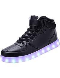 (Present:kleines Handtuch)Schwarz 39 EU High Farben Damen Turnschuhe JUNGLEST 7 Licht Schuhe Top LED Unisex Hohe Far