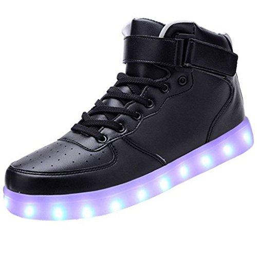 (Present:kleines Handtuch)JUNGLEST® 7 Farbe USB Aufladen LED Leuchtend Sport Schuhe Sportschuhe High Top Sneaker Turnschuhe für Unisex-Erwa c34