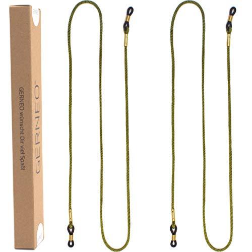 GERNEO® - DAS ORIGINAL - Premium Brillenband & Brillenkordel Unisex für Lesebrille & Sonnenbrille - goldene Halter - diverse Farben - extra lang - 2er Pack (Racing Green)