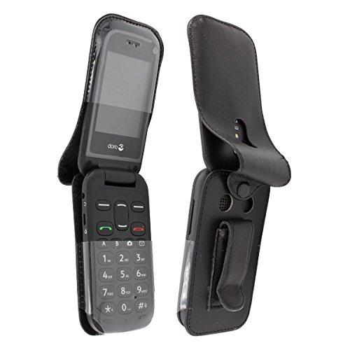 caseroxx Handy-Tasche Ledertasche mit Gürtelclip für Doro 2404 aus Echtleder, Handyhülle für Gürtel (mit Sichtfenster aus schmutzabweisender Klarsichtfolie in schwarz)