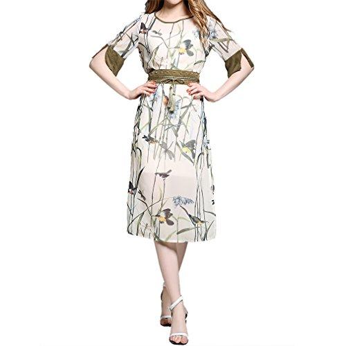 Honghu Damen Sommer Elegant Kurzarm Chiffon Drucken Spliss Kleid Beige