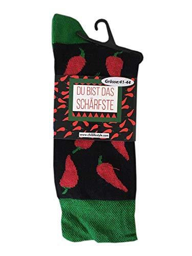 CHiLI Lifestyle Socks Motivsocken Peperoni Du bist das Schärfste Herrensocken 41-44 Strümpfe Socken