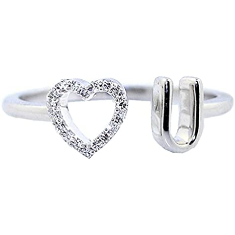 rings-midwestjewellery. com Mujer Love You Anillo 10K oro blanco 0,07quilates diamantes 6mm Promise anillo de compromiso