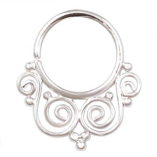 Septum Piercing 18g 5/16Einzigartigen Naht Hoop Ring Messing rhodiniert Gauge Nase Ring Nasenloch Ohr Knorpel Helix rhstp 07 (Gauge 18g Ohr)