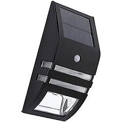 Sharplace LED Wandleuchte, Bewegungssensor Licht Außen Bewegungsmelder Drahtloses Wandleuchte Batteriebetriebenes Wandstrahler Edelstahl Leuchten Wandlampe - Schwarz Warm Weiß
