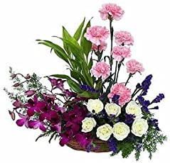 Florazone Triple Elegance Basket Arrangement Carnation, Roses, Orchids Same Day Delivery