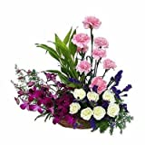 Florazone Triple Elegance Basket Arrangement Carnation, Roses, Orchids Same Day Delivery