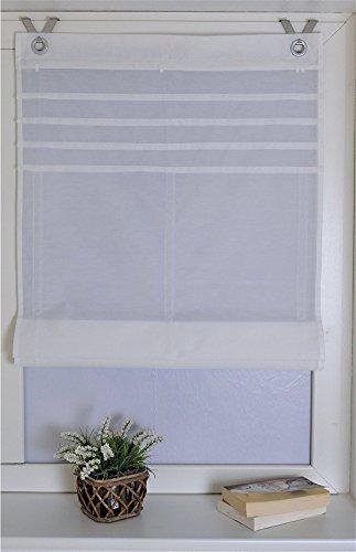 Raffrollo Oesenrollo Gardinen Vorhang mit V-Haken B 80cm * H 140cm Weiss