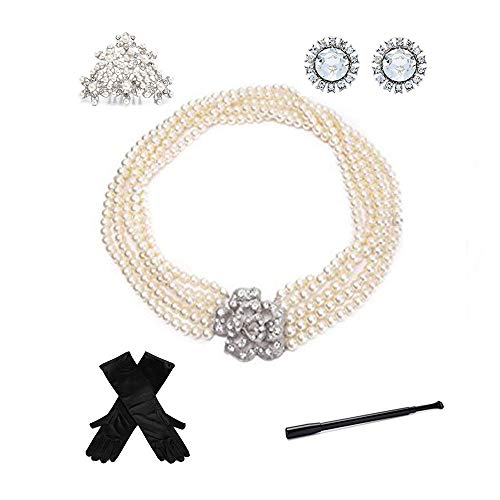 Audrey Hepburn Colazione da Tiffany's Complete Jewelry and Accessory Costume Set da 5 pezzi