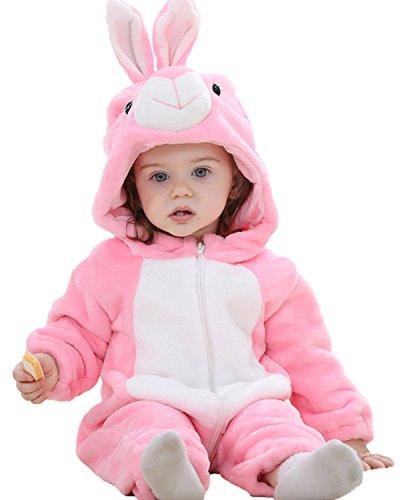 Kidsform Baby Flanell Winter Strampler Outfits Bekleidung Karikatur Tier Jumpsuit Spielanzug Spielzug Playsuit Rabbit 18-24M (Multi Kleinkind Bekleidung)