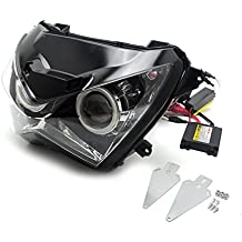 Motocicleta HID Proyector Del ojo Del Ángel Montaje de La Linterna para Kawasaki Z800 de Encargo Z250 2013 2014 2015 Azul