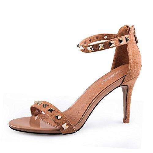 Alto Signora Estate Rivetto Una Sandali Con Tacco Col Scarpa Stiletto Scarpe Short 6TxRwCq