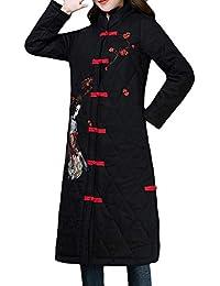 31a58b86fd56 Robemon✬Peinture Chinois Style Prune Broderie Femmes Manteau Hiver Col Haut  Chaud Veste en Coton