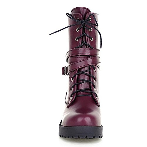 TAOFFEN Damen Retro-britische Art Blockabsatz Schuhe schnürt und Schnalle Dating-Martin Stiefel Lila